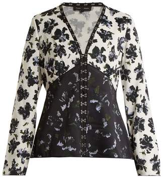 Proenza Schouler Floral Print V Neck Blouse - Womens - Black Blue