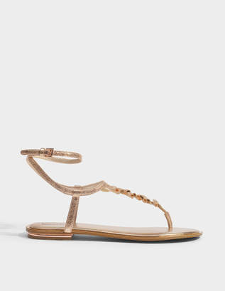 MICHAEL Michael Kors Bella Thong Sandals in Soft Pink Metallic Nappa Leather
