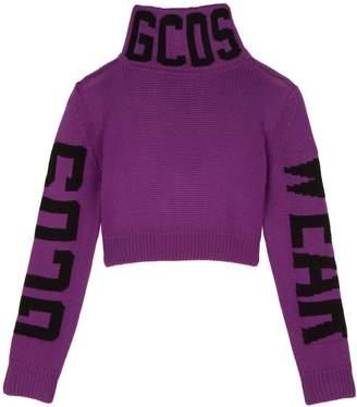 GCDS Logo Cropped Wool-Blend Sweater