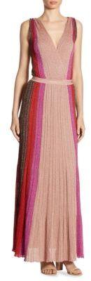 Missoni Striped Deep V-Neck Gown