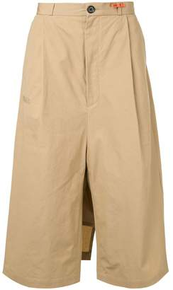 Puma Maison Yasuhiro flare cropped trousers with rear layer
