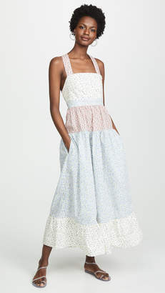 Rachel Antonoff Hannah Pinafore Tiered Maxi Dress