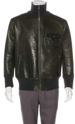 Bottega Veneta 2016 Leather Zip-Up Jacket