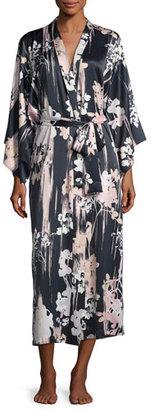 Natori Layla Floral-Print Long Robe, Black $180 thestylecure.com