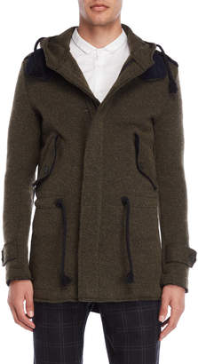 Imperial Star Olive Wool-Blend Hooded Coat