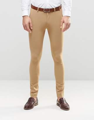 Asos Design Super Skinny Fit Suit Trousers In Camel