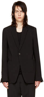 Rick Owens Black Shoulder Drape Soft Blazer