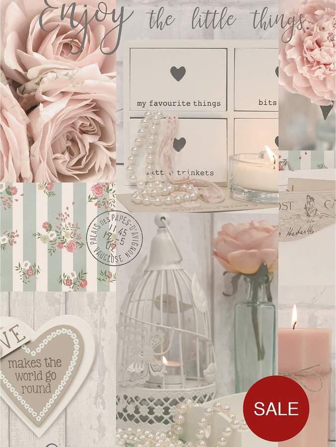 ARTHOUSE Diamond Rose Blush Wallpaper