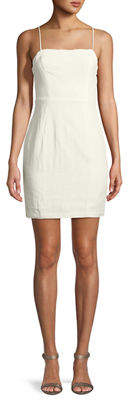 Astr Linen Square-Neck Mini Dress