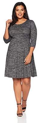 Lark & Ro Women's Plus Size Three Quarter Sleeve Knit Fit and Flare Dress