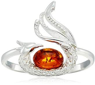 Amber Sterling Silver Peacock Ring