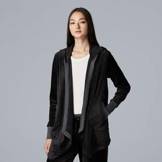 Vera Wang Women's Simply Vera Hooded Plush Cardigan