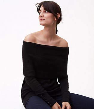 LOFT Petite Button Cuff Off the Shoulder Sweater