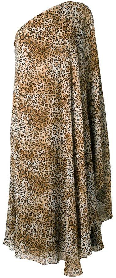 Saint LaurentSaint Laurent leopard print one-shoulderdress