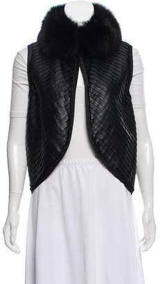 J. Mendel Leather Fur-Trimmed Vest