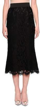 Dolce & Gabbana Elastic Waistband A-line Tea-Length Lace Skirt