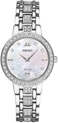 Seiko Women's Solar Dress Swarovski Crystal Stainless Steel Bracelet Watch 28mm SUP359