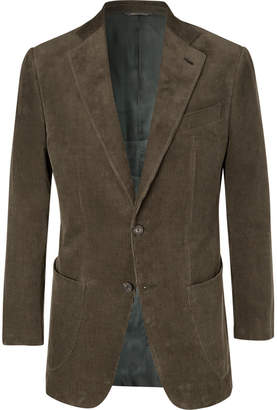 Thom Sweeney - Army-Green Slim-Fit Cotton-Corduroy Suit Jacket