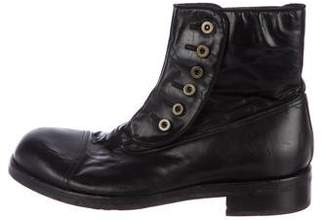 Dolce & Gabbana Leather Embellished Ankle Boots