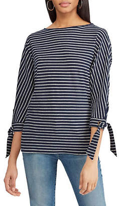 Chaps Petite Relaxed-Fit Striped Top