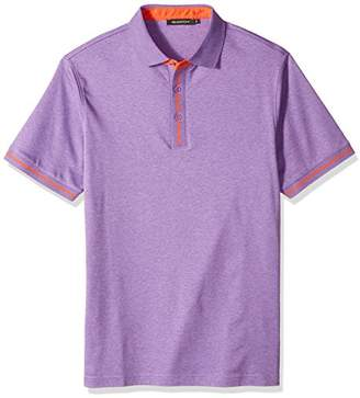 1b0e7e42b Bugatchi Men's Trim Fit Melange Cotton Solid Polo Shirt