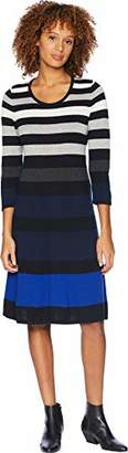 Nine West Women's 3/4 Sleeve Fit and Flare Striped Dress