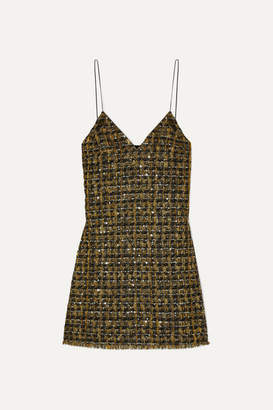 Balmain Sequined Metallic Tweed Mini Dress - Black