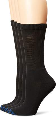 MediPEDS PEDS Women's Diabetic Crew Socks with Non-Binding Top and Cushion Sole 4 Pairs