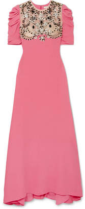 Reem Acra - Embellished Tulle-paneled Silk Crepe De Chine Gown - Pink