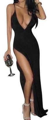 LeadingStar Women's Fashion Sexy Deep V-neck Backless Spaghetti Strap Maxi Tank Split Side Long Dress Color:Black Size:Asia L