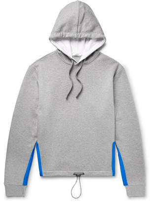 Satin-Trimmed Mélange Loopback Cotton-Blend Jersey Hoodie