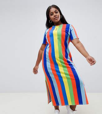 Asos DESIGN Curve ultimate t-shirt maxi dress in rainbow stripe