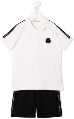Moncler side panelled polo shirt and shorts set