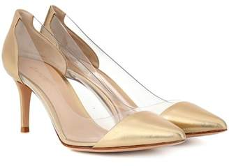 Gianvito Rossi Exclusive to Mytheresa – Plexi 70 metallic leather pumps