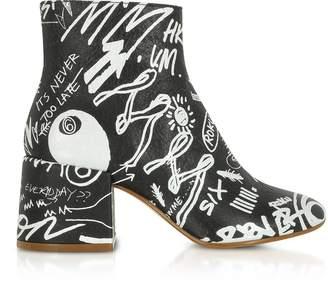 Maison Margiela Black Crackled Graffiti Printed Leather Heel Boots
