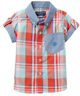 Andy & Evan Madras Chambray Button Down Shirt (Baby Boys)