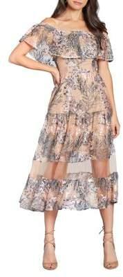 Dress the Population Floral Mesh Off-the-Shoulder A-Line Dress