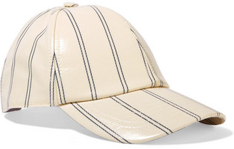 Acne Studios - Camp Striped Coated-twill Baseball Cap - Ivory $160 thestylecure.com