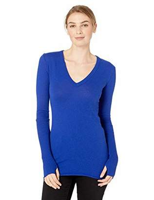 Enza Costa Women's Cashmere Long Sleeve Cuffed V-Neck Top with Thumbhole