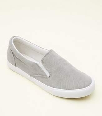 New Look Grey Corduroy Slip On Trainers