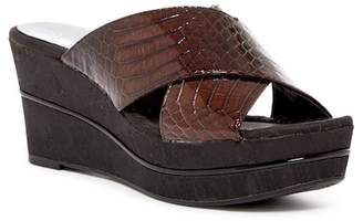 Donald J Pliner Dani Croco Patent Embossed Leather Crossover Wedge Sandal