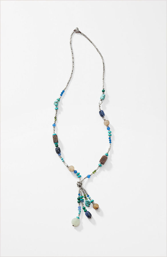 J. Jill Mixed beads tassel necklace