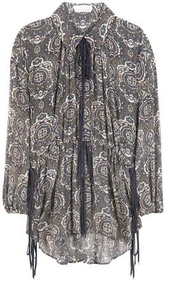 Chloé Printed crepon silk blouse