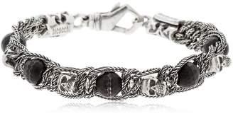 Emanuele Bicocchi Onyx & Skull Braided Silver Bracelet