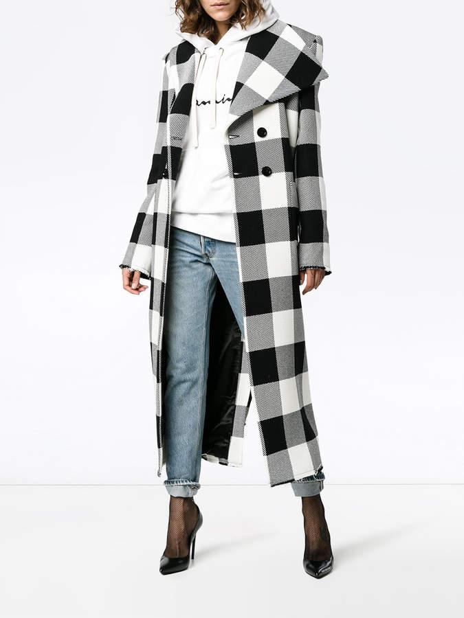 Marques Almeida Marques'almeida check print double breasted coat