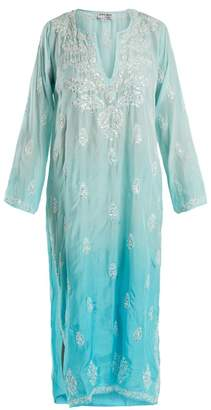 Juliet Dunn Floral Embroidered Ombre Silk Kaftan - Womens - Blue
