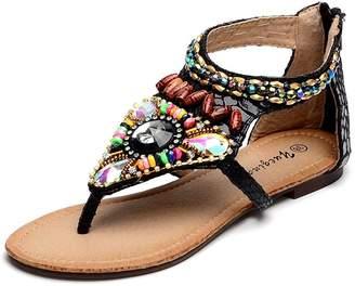 ec71e24a1 D2C Beauty Women s Bohemian Rhinestone Beaded Flat Thong Sandals - 9 M US