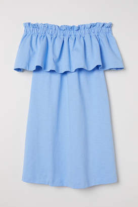 H&M Off-the-shoulder Dress - Blue