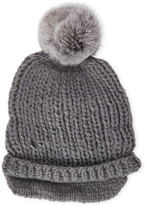 Surell Slouchy Real Fur Pom Pom Hat