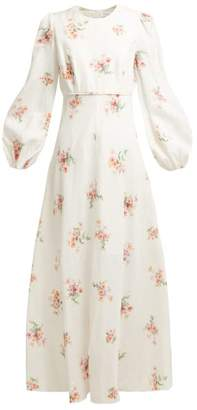 Zimmermann Heathers Floral Print Linen Long Dress - Womens - White Multi